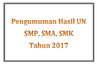 Pengumuman Hasil UN  SMP, SMA, SMK Tahun 2017