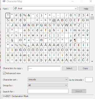 Karakter Unicode pada Character Map Windows
