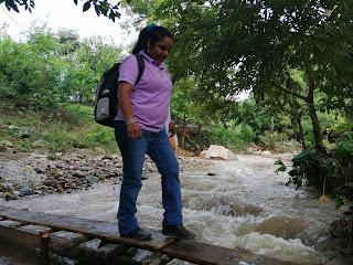 Puente provisional para cruzar el rio