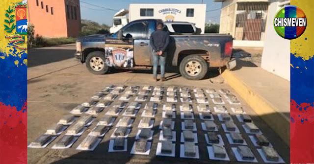 80 panelas de cocaína escondidas en la rueda de un tractor en Falcón