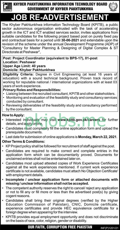Latest Khyber Pakhtunkhwa Information Technology Board Management Posts 2021