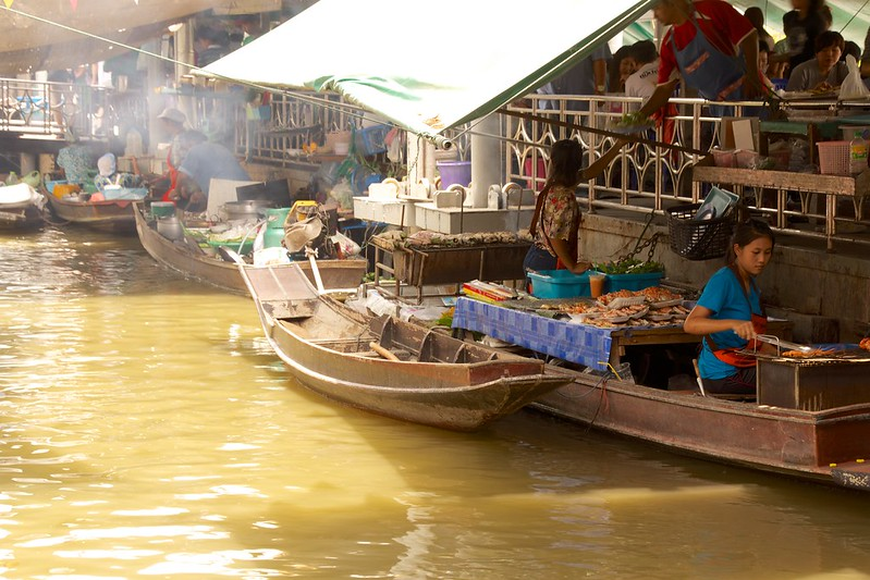 Taling Chan Floating Market in Bangkok, Thailand