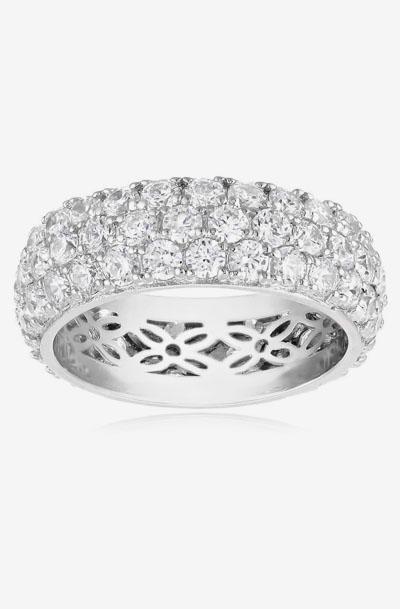 68b78393e7c3 Platinum-Plated Sterling Silver Swarovski Zirconia Three-Row Pave Round Cut  Ring