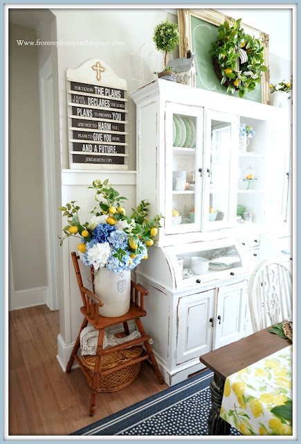 French Farmhouse-Hydrangea Arrangement-Dining Room-From My Front Porch To Yours