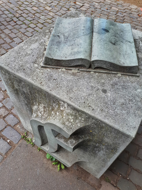 Gutenberg capital letters in front of Gutenberg museum in Mainz
