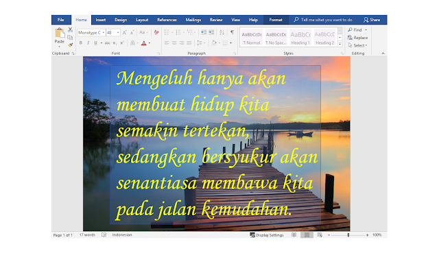 cara membuat tulisan di atas gambar di microsoft word