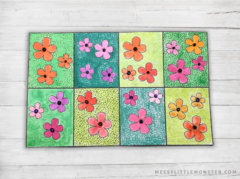 Flower pop art Mother's Day card for kids to make