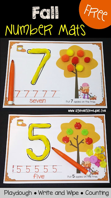 FREE Fall Number Mats - These super cute printables are perfect for Preschool, Prek, and Kindergarten age kids to practice counting, making numbers with playdough, and writing numbers.