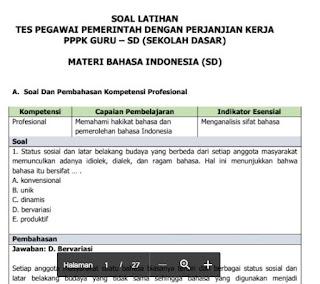 latihan soal pppk bahasa indonesia sd