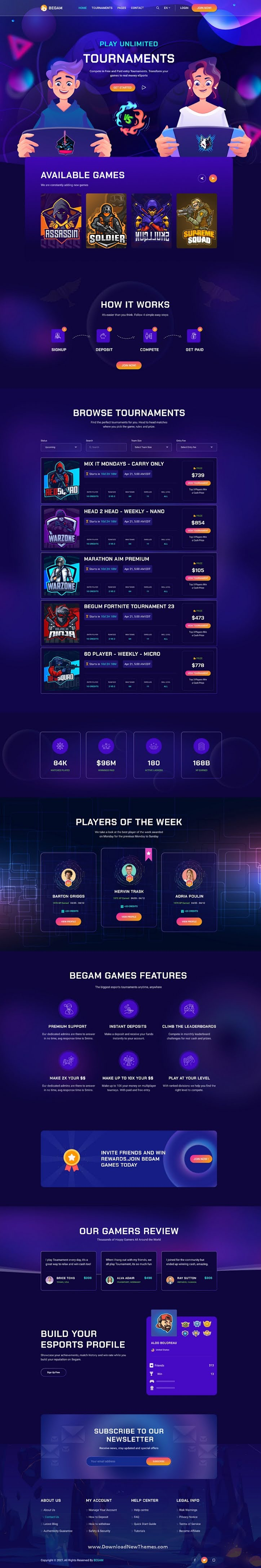 Online Gaming Tournaments Figma Template