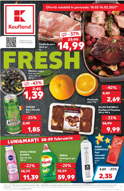 Kaufland Promotii + Catalog-Brosura 10-16.02 2021 →  FRESH | Pana la -50% Oferte Kaufland Card