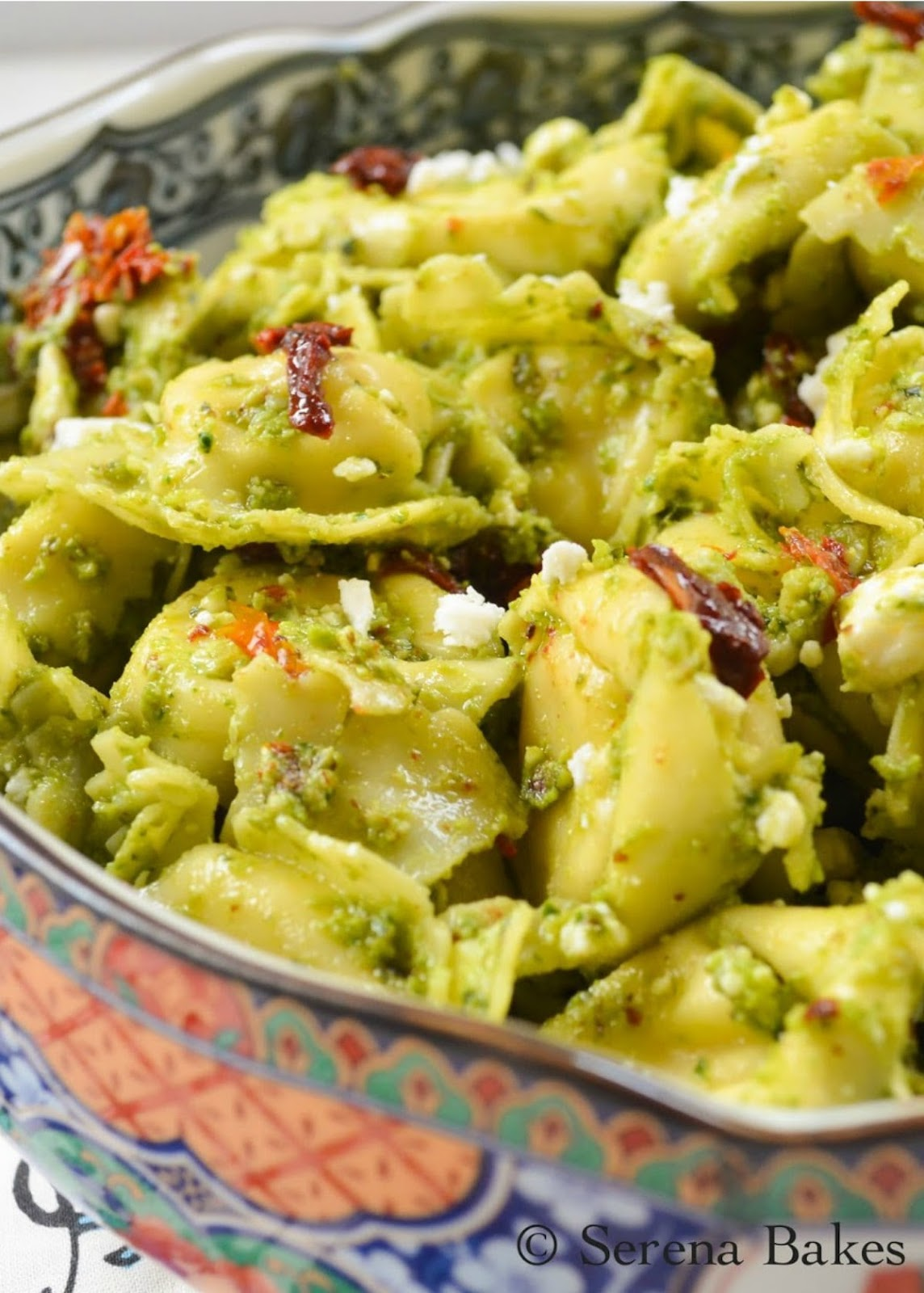 Tortellini Pesto Pasta Salad with Feta is a favorite pasta salad recipe. It's great for an easy lunch, dinner or side dish from Serena Bakes Simply From Scratch.