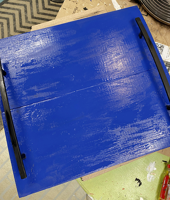 blue painted tray with handles