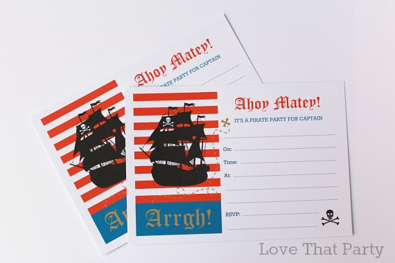 image of pirate birthday invitation, pirate ship, red, blue, stripes