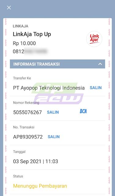 Invoice Top Up LinkAja