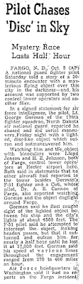Pilot Chases 'Disc' in Sky (Gorman) – San Francisco Chronicle 10-1-1948