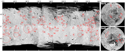 Size and location of craters on Ryugu (Figure from the Journal paper): The craters are numbered in order of size.