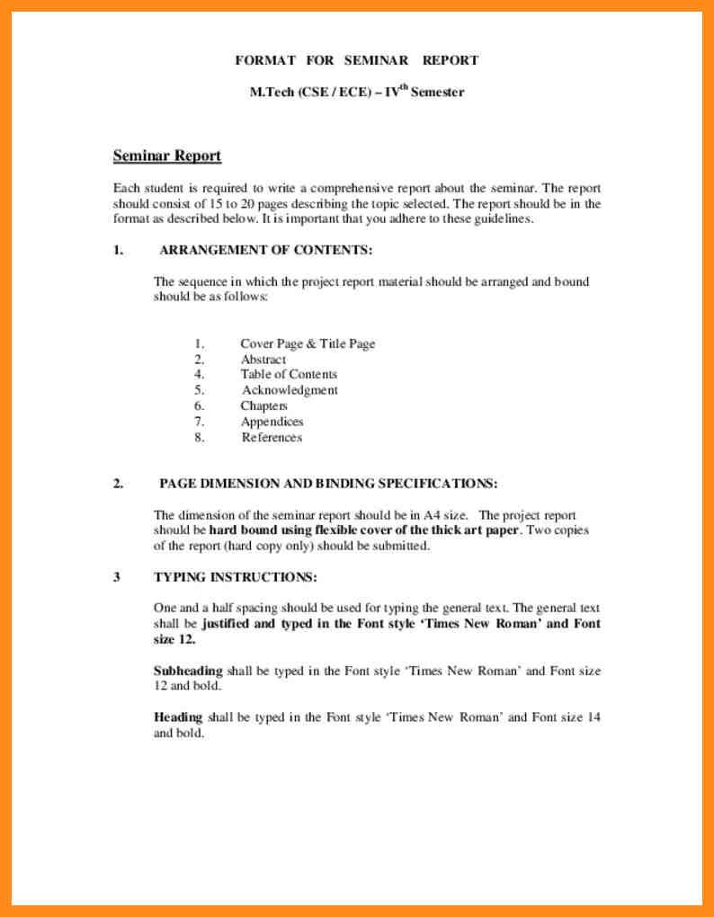 seminar report format in word