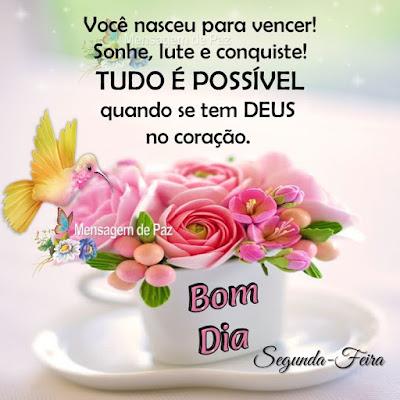 Você nasceu para vencer! Sonhe, lute e conquiste! Tudo é possível se tem Deus no coração. Bom Dia! Segunda-Feira