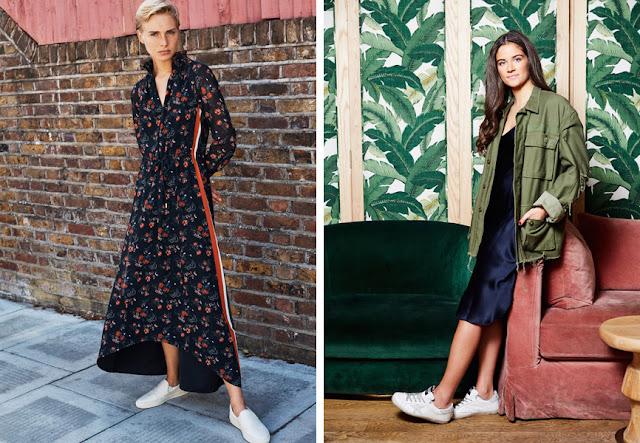 Сникеры с длинным платьем с цветочным принтом и с платьем-комбинация