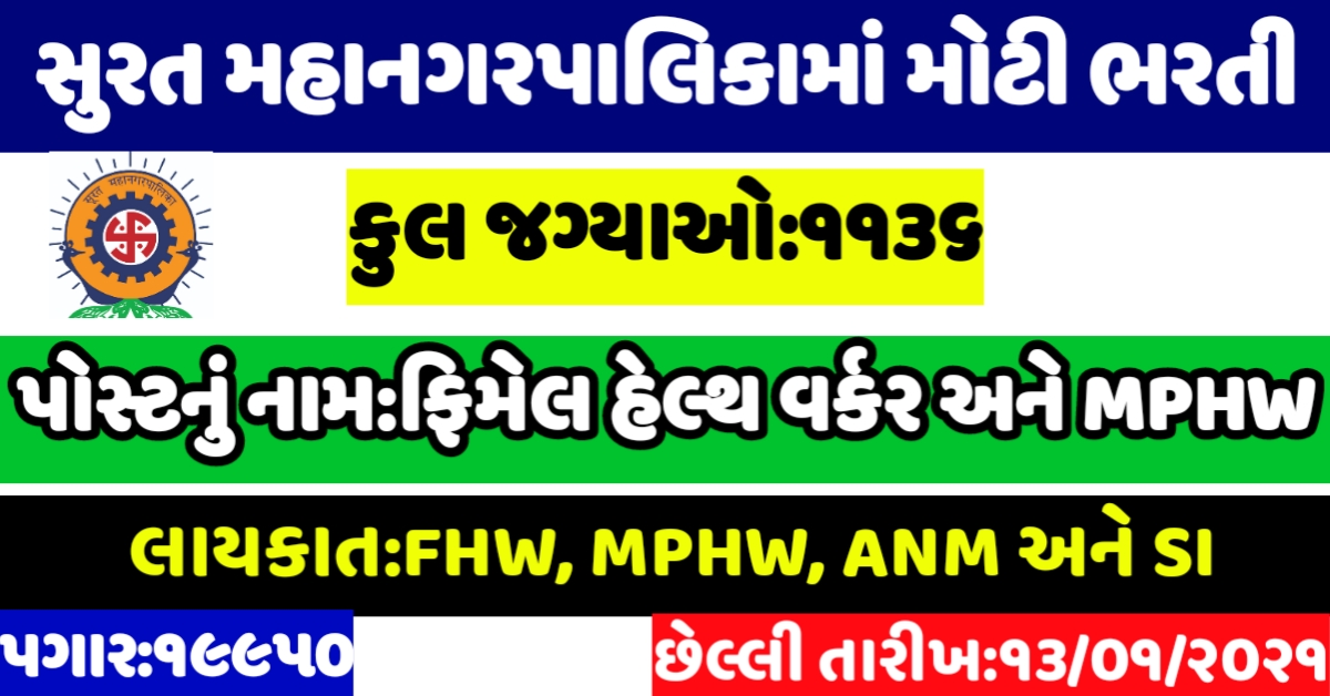 SMC recruitment 2021,Surat Municipal Corporation Recruitment, Smc apply online, Smc fhw recruitment 2021,surat jobs,smc recruitment 2021 apply online