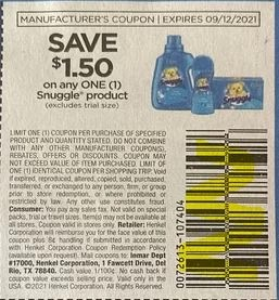 """$1.50/1-Snuggle Coupon from """"SAVE"""" insert week of 8/22/21."""