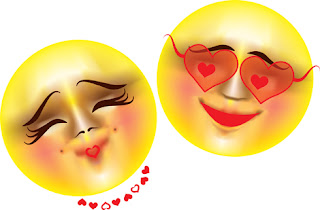 Clipart Image of Male and Female Smiley Faces