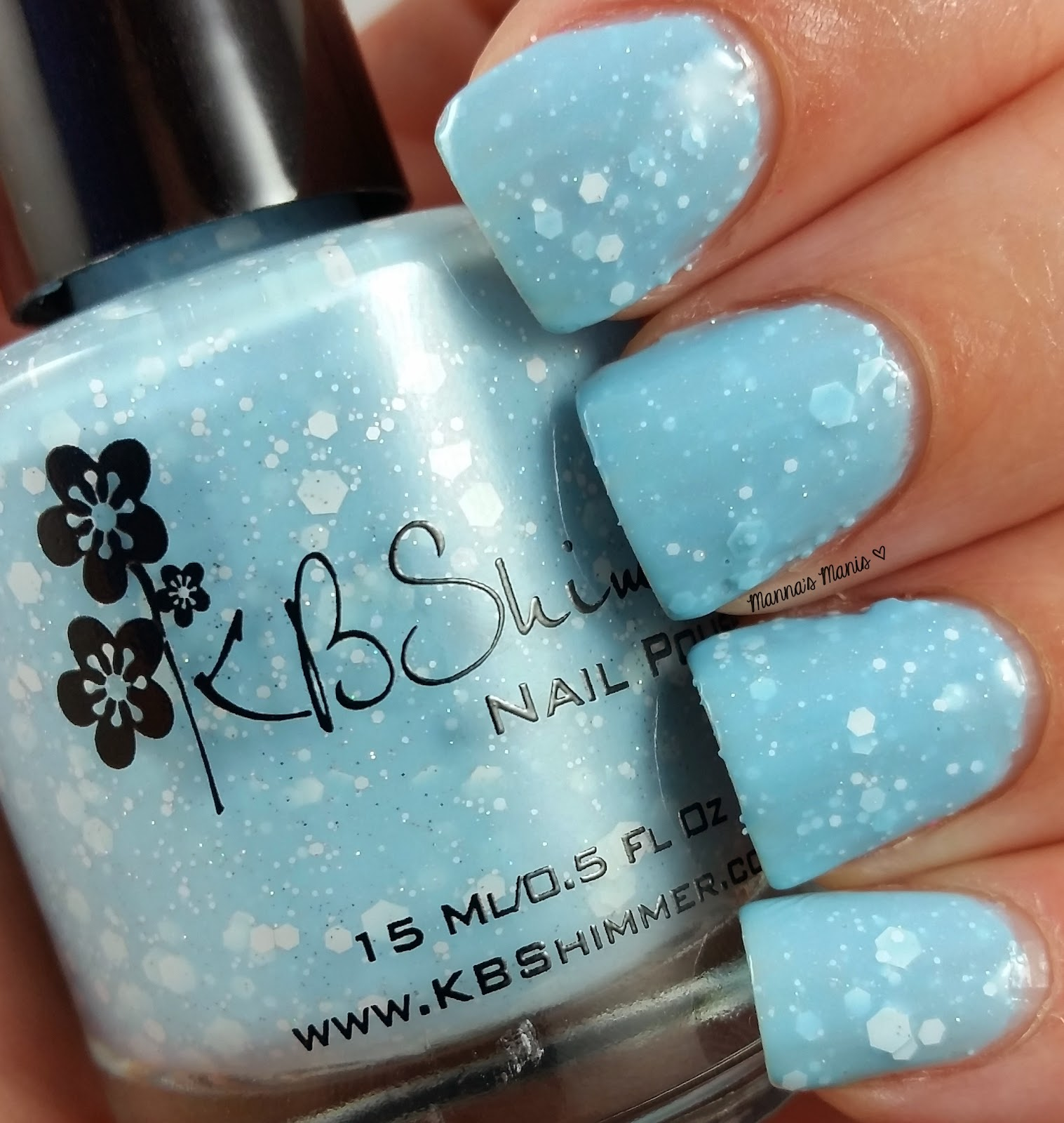 kbshimmer snow way, a pale blue crelly nail polish