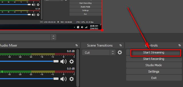 Tiến hành phát tín hiệu từ phần mềm đến Youtube