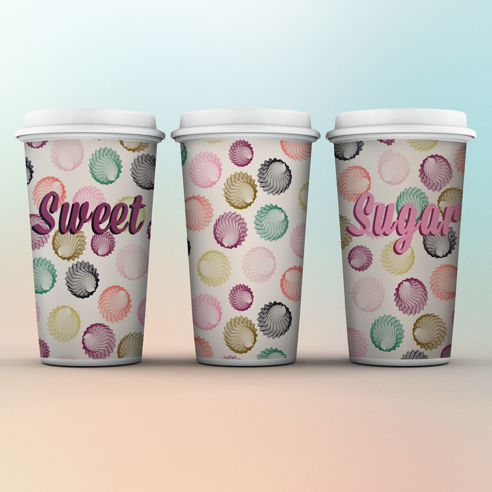 Sweet coffee cups with nice design