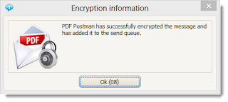 Screen shot of PDF Postman messaging confirming the encrypted email message has been sent.