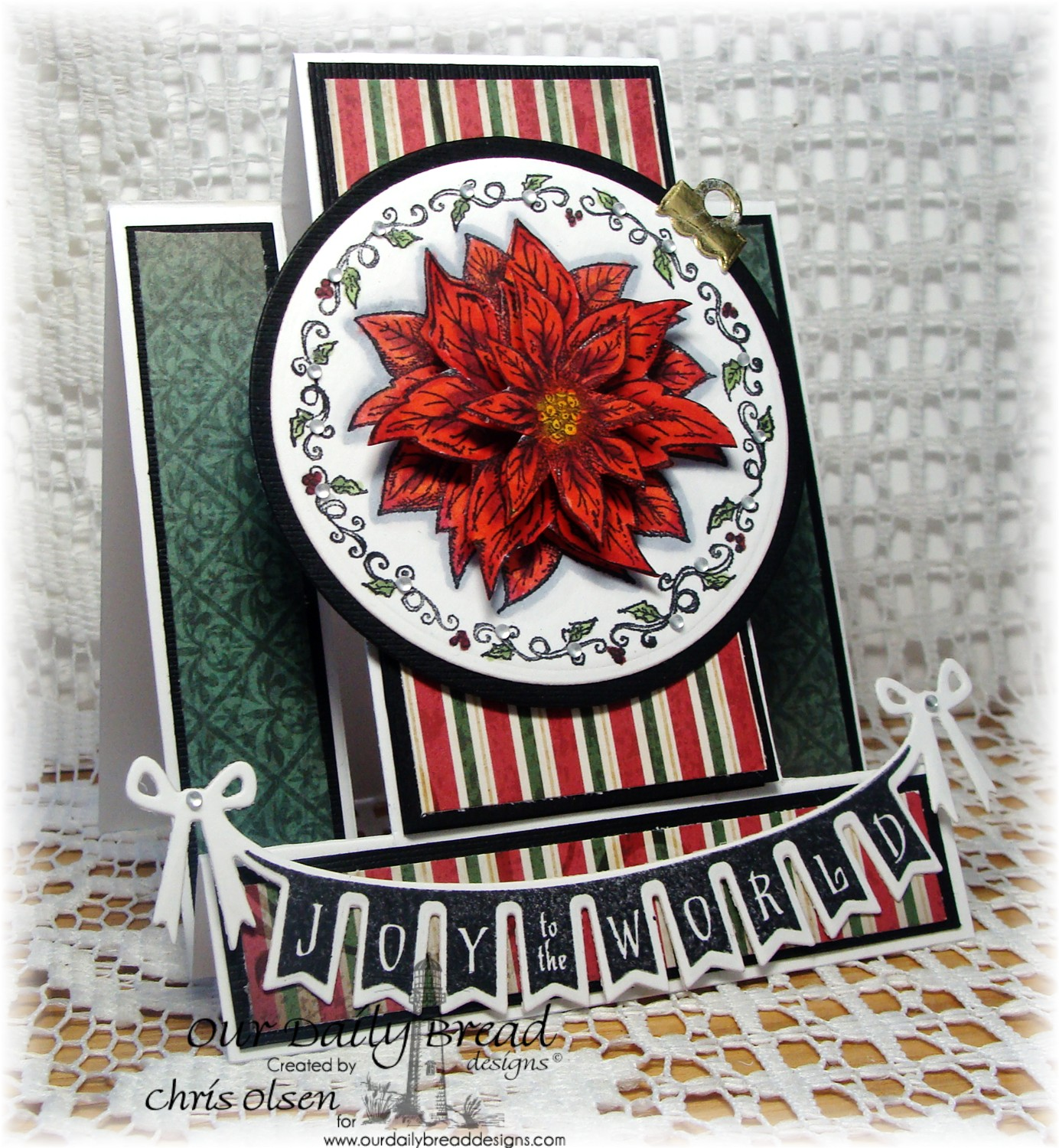Stamps - Our Daily Bread Designs Poinsettia Ornament, Christmas Pennant Swag, ODBD Custom Pennant Swag Die, ODBD Custom Matting Circles Dies, ODBD Custom Circle Ornaments Die, ODBD Christmas Paper Collection 2013