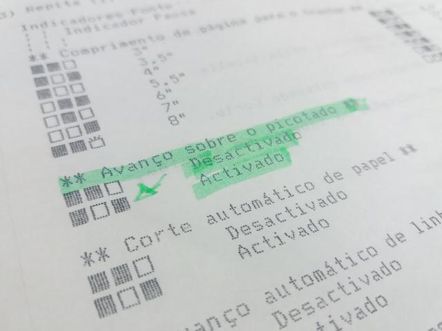 sequência leds opção avanço sobre o picotado impressora matricial epson lx 300 +