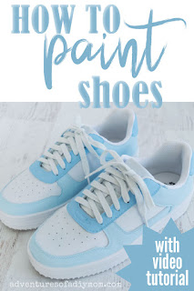 blue and white painted shoes