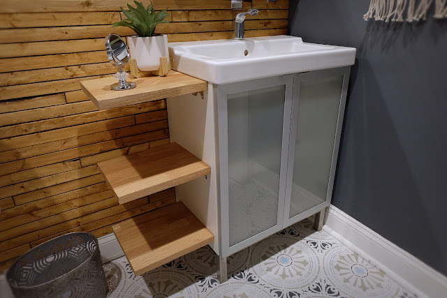 red oak shelf bath vanity hack storage