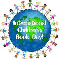 A globe with children around the circumference and text reading International Children's Book Day.