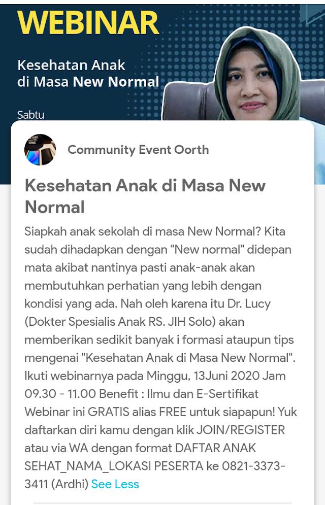 """tips mengenai """"Kesehatan Anak di Masa New Normal"""". Ikuti webinarnya pada Sabtu, 13Juni 2020  Jam 09.30 - 11.00"""