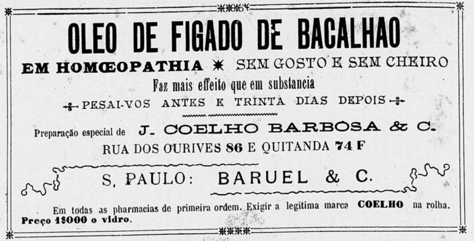 Anúncio veiculado em 1906 promovia os benefícios do Óleo de Fígado de Bacalhau