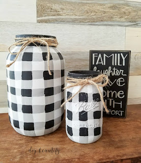 buffalo plaid painted mason jars