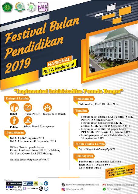 Pamflet Festival Bulan Pendidikan (FBP) 2019 UIN Malang