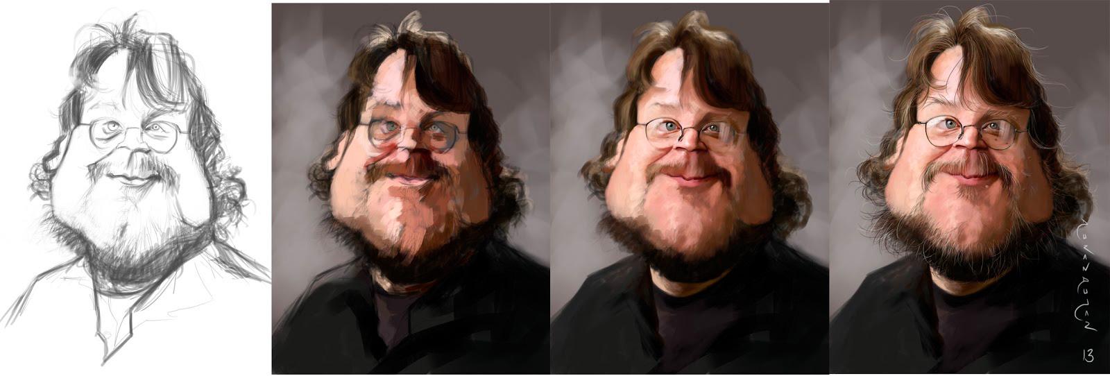 """Caricature process of """"Guillermo Del Toro"""" by Antonio Durán Andújar"""