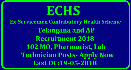 ECHS Telangana and Andhra Pradesh Recruitment 2018 – 102 MO, Pharmacist, Lab Technician Posts | Apply Now ECHS AP & Telangana Recruitment 2018-19 | 102 Jobs @ www.tasaechs.in/2018/05/echs-telangana-and-andhra-pradesh-ap-recruitment-2018-102-mo-pharmacist-lab-technician-posts-apply-online-www.tasaechs.in.html