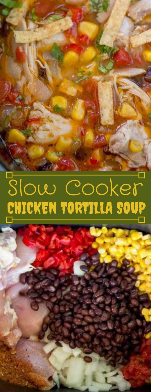SLOW COOKER CHICKEN TORTILLA SOUP #dinner #cooker #chicken #tortilla #soup