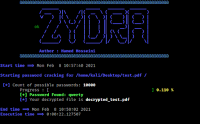 pdf file password recovered using zydra