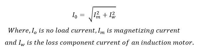 no load of induction motor formula