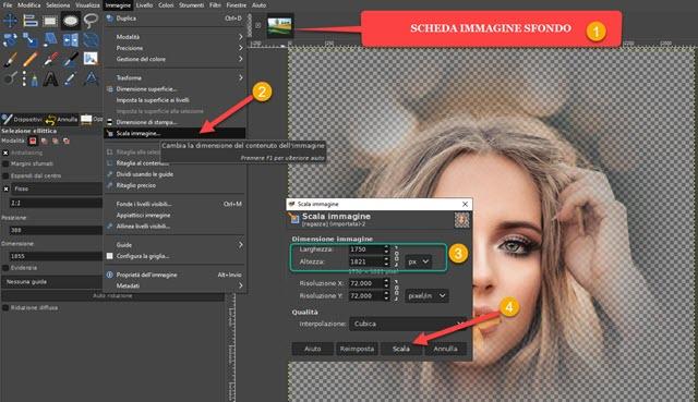 scalare immagine in GIMP
