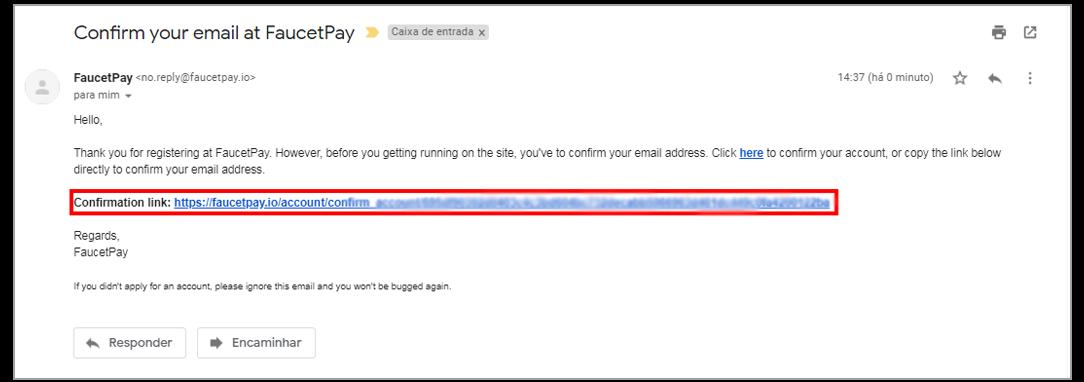 Conteúdo do E-Mail de Confirmação, Clique no Link