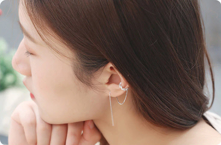個性風波紋鋯石耳扣鍊(一只 /單邊)
