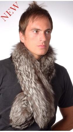 Silver Fox Fur Scarf - Fur on both sides