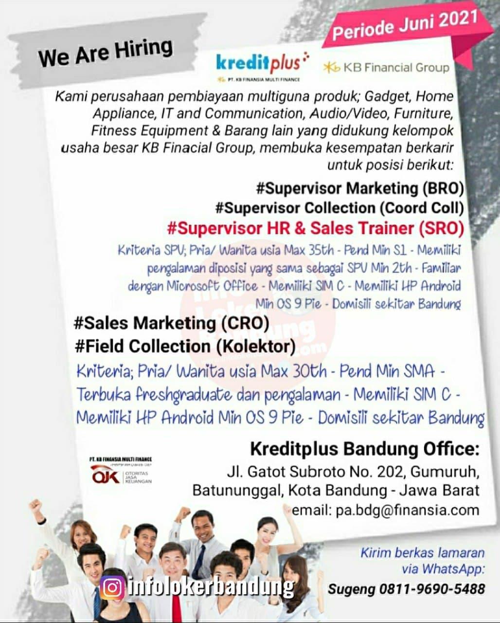 Lowongan Kerja Kredit Plus Bandung Juni 2021